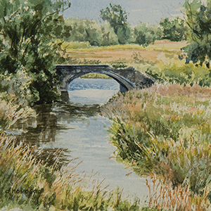 """Old 4th Line Bridge-CW2 – Study 1″-image size 10″x7""-watercolou"