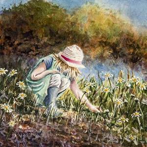 """Girl In Straw Hat Picking Flowers""-image size 10″x7″-watercolou"